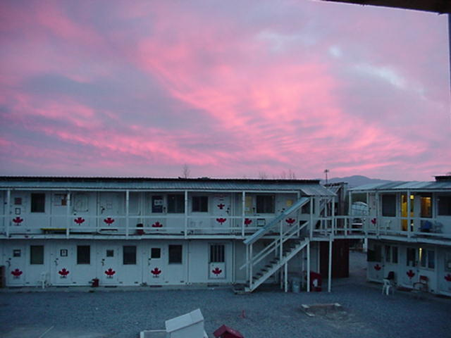 Coralici troop quarters at sunset.